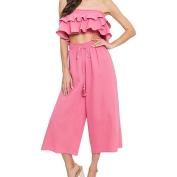French Terry Strapless Ruffle Two-Piece Set