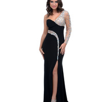 Black Beaded Jersey Mesh One Shoulder Long Gown
