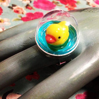 Kawaii Cute Swimming Yellow Rubber Ducky Miniature Dome Adjustable Ring, Pastel Goth Yellow Duck, Sweet, Mini Duck, Terrarium Statement Ring