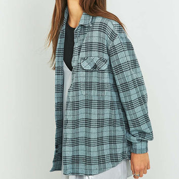Urban Renewal Vintage Customised Overdyed Grey Plaid Flannel Shirt - Urban Outfitters