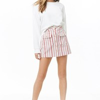 Striped Denim Mini Skirt