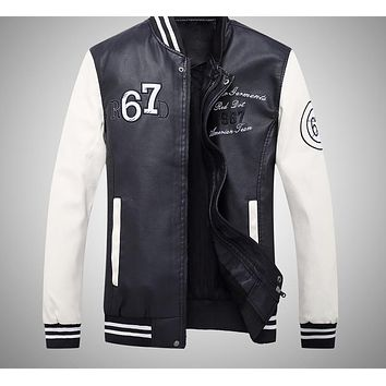 Leather Jacket Men New Casual Men Jackets Army Clothing Fashion Elastic Motorcycle Outerwear