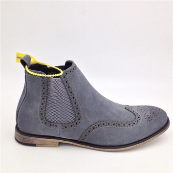 British Style Fashion Men Chukka Boots Spring Suede Leather Leisure Bullock Slip On Pointed Toe Ankle Shoes For Men D30