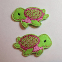 Sea Turtle Felt Barrette Snap Clips in Green and Pinks