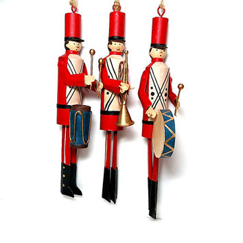 Soldier Band Ornaments Drums & Bugle Red and Black Uniforms Christmas Tree Decor Vintage 1980s