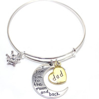 Bracelet Bangle I Love You to the Moon and Back Letter Pendant Charms Expandable