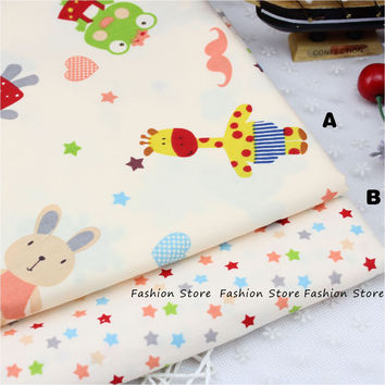50*40cm piece Giraffe Elephant Animal Printed Cotton Fabric for Baby Bedding Textile Room Decoration DIY Sewing Patchwork Fabric