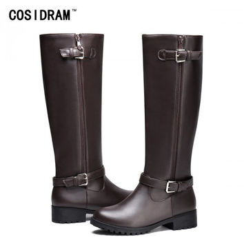 2017 PU Leather Women Boots Zip Knee High Motorcycle Boots Casual Martin Winter Shoes Short Plush Warm Female Booties SNE-220