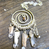 Sterling Silver Spiral Necklace with Quartz by DeerGirlDesigns