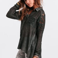 Hazy Night Button-Up Blouse By Black Swan