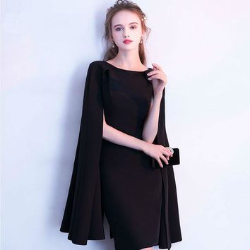 Simple Little Black Full Cap Sleeve Cloak Zipper Cocktail Dresses A-line Knee Length Formal Dress Party Gown