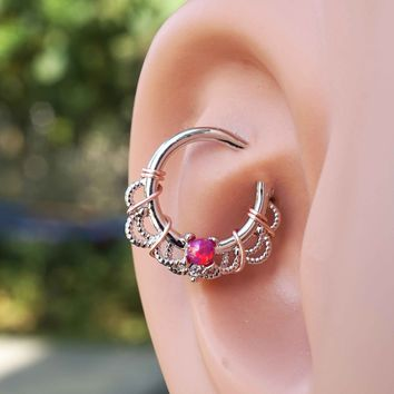 Red Opal Daith Hoop Ring Rook Hoop Cartilage Helix