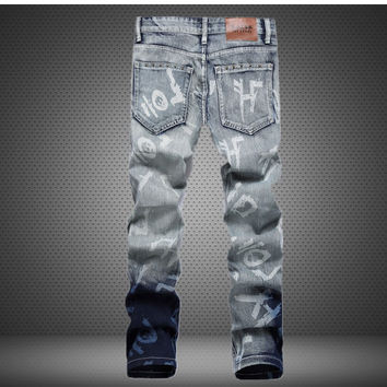 Rinsed Denim Ripped Holes Slim Denim Style Stylish Men's Fashion Pants [6541737155]