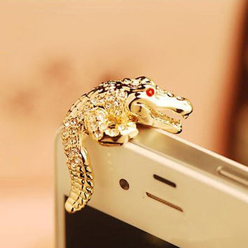 Cute Rhinestone Embellished Crocodile Dustproof Plug Earphone Cap for iPhone Samsung HTC Phone (Color: Gold) = 1841475268