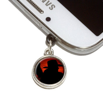 Cowboy with Horse Silhouette Mobile Phone Silver Charm