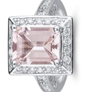CERTIFIED 0.95 Cts Diamond & 3.02 Morganite Ring in 14K White Gold