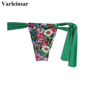 Bather Sexy swim brief female swimwear women string tie Brazilian bikini bottom thong tanga micro underwear panties V104