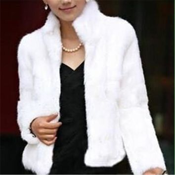 Casual Short Design faux rabbit fur coat Warm autumn Winter overcoat