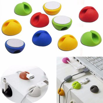 10pcs Random Color Cable Drop Clip Desk Tidy Organiser Wire Cord Lead USB Charger Cord Holder Organizer Holder Secure Table