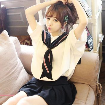 2017 new 2-Pieces White Black Shirt+Skirt Japanese School Uniforms Cute Sailor Suit Student Dress Korean School Uniform