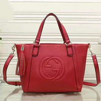 GUCCI Big Double G Tassel Women Shopping Leather Handbag Tote Satchel Crossbody Shoulder Bag Red