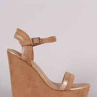 Bamboo Two Tone Ankle Strap Platform Wedge
