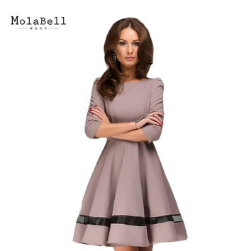MolaBell Elegant Womens Half Sleeve Business Casual Office Formal Party Pleated Dress O-neck Solid Work Wear