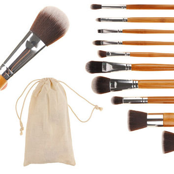Natural Wood 10-Piece Essential Brush Collection Gift