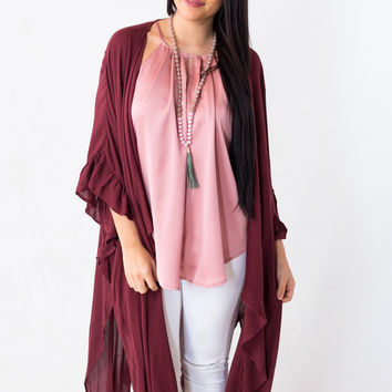 Willow Branch Kimono in Burgundy