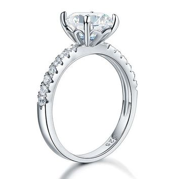 925 Sterling Silver Bridal Engagement Ring 2 Carat Simulated Diamond Jewelry