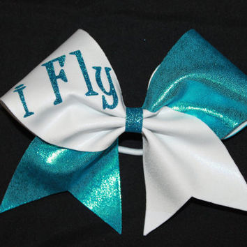 I Fly glitter monogrammed cheer bow