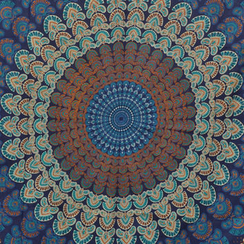 "Blue Hippie Hippy Wall Hanging Indian Mandala Tapestry Throw Living Room Tapestry Bedspread Decorative Wall Hanging Beach Sheet 86"" * 56"""
