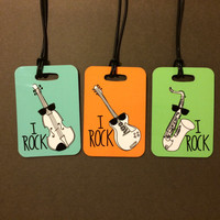 Personalized Saxophone Case Instrument Case Tag - I ROCK