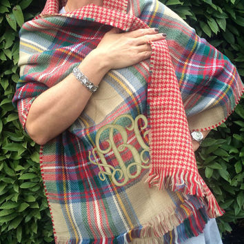 Monogrammed Double Sided Red/Green Tartan Plaid Houndstooth Blanket Scarf Wrap  Font Shown INTERLOCKING in Khaki