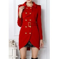 Wholesale Fashion Women's Turn-Down Collar Belted Double-Breasted Design Long Sleeves Slimming Trench Coat (RED,M), Jackets & Coats - Rosewholesale.com