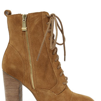 Report Signature Pommel Tan Suede Leather High Heel Boots