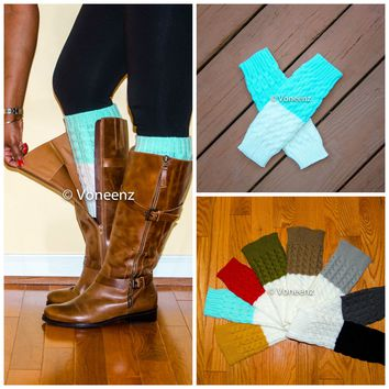 Mint & Ivory Reversible Knitted Boot Cuffs, Two Tone Boot Topper, Holiday Stocking Stuffer