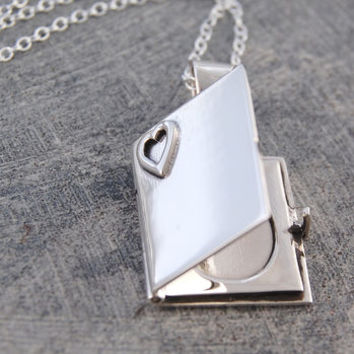 Engraved Heart Book Locket Necklace