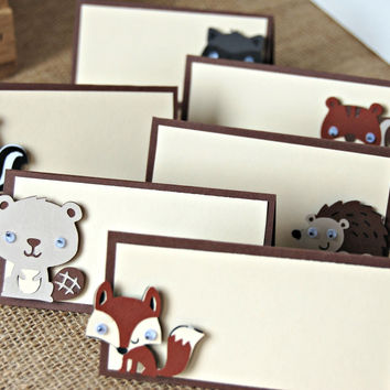 Forest Friends Birthday Party Food Buffet Name Tags(Set of 6)