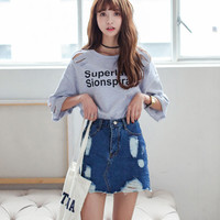 New 2016 Fashion Ripped Denim Skirt Vintage High Waist Skirts Womens Summer Sexy Bodycon Mini Skirt Ladies With Pockets