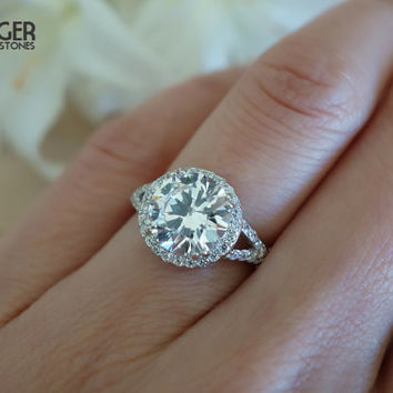 3 Carat Split Shank Halo Engagement Ring, Flawless Man Made Diamond  Simulants, Wedding,
