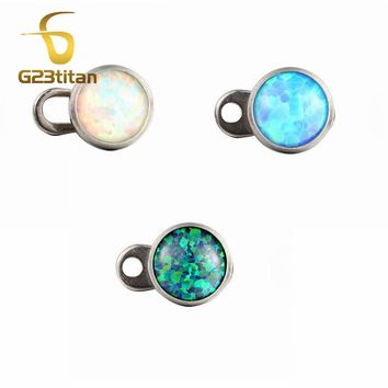 G23titan Titanium Fire Opal Micro Dermal Piercings Dermal Anchor Under Skin Ear Eyebrow Piercing Body Jewelry