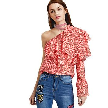 Sexy Women Blouses Woman's Fashion Summer Boho Blouse Ladies One Shoulder Dot Print Layered Ruffle Top