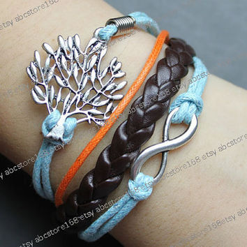 Life Tree Bracelet-infinity bracelet-karma bracelet-blue rope bracelet, orange rope,brown braided leather bracelet