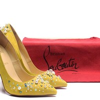 CL Christian Louboutin Women Trending Leather Black High Heel flat Shoes boots Best Quality yellow