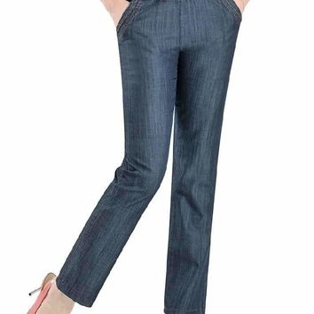 Woman Oversized High Elastic Waist Loose Ankle-Length Pants Female Plus Size Straight Thin Tencel Jeans Lady Jeans