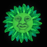 Joyful Purple and Blue Sun Face Pendant Glows in the dark Neon & Blacklight EyeGloArts Handmade Millefiore Jewelry #S13,  #S14
