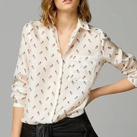 Cream Feather Floral Print Long-Sleeve Collared Chiffon Shirt