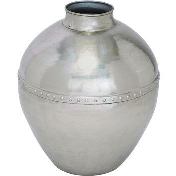Industrial Vintage Metal Vase With Silver Finish And Riveted Center