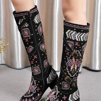 Black Suede Embroidery Tribal Pattern Strap Detail Boots